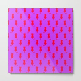 Polka Dot Pattern Pop Art Cat In Red and Lilac Metal Print