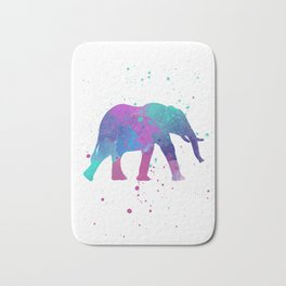Elephant Watercolor I Bath Mat