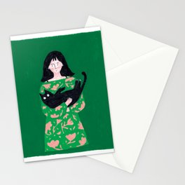 Black Cat Snuggles Stationery Cards