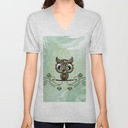 Cute little owl, green diamond Unisex V-Neck