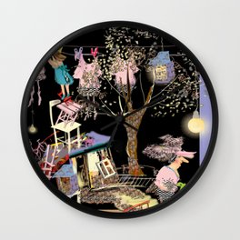 crazy little home, crazy house next to tree, laundry lane and a girl and a woman in weird clothes Wall Clock