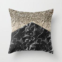 Shimmering golden chevron black marble Throw Pillow