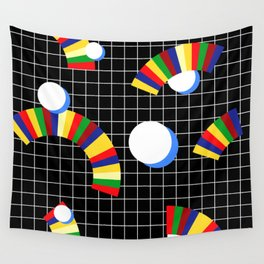 Memphis Grid & Rainbows Wall Tapestry