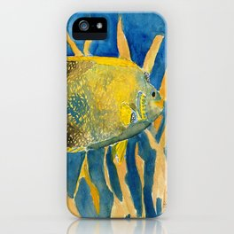 tropical fish square painting iPhone Case