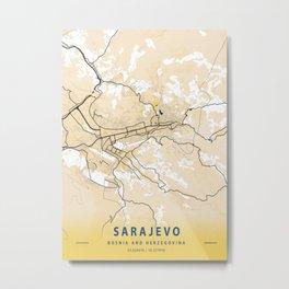 Sarajevo Yellow City Map Metal Print