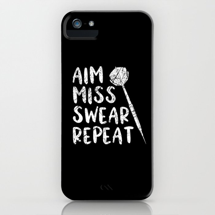 Dart Aim Miss Swear Repeat Darts Gift Darts Player Team iPhone Case