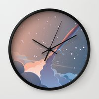 rocket Wall Clocks featuring Rocket by TheNewVision