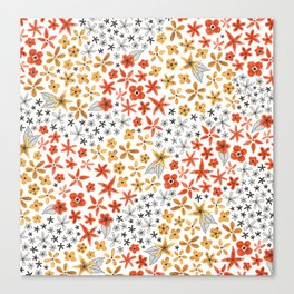 tiny tiny red gold and black flowers Canvas Print