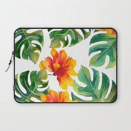 Monstera And Hibiscus Laptop Sleeve