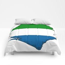 Sierra Leone Map with Sierra Leonean Flag Comforters
