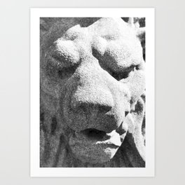 Concrete Lion Head Art Print
