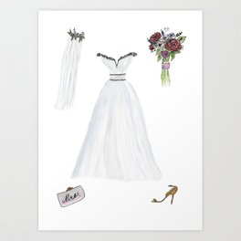 For The Bride To Be Watercolor and Ink Art Print