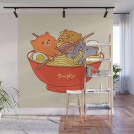 Ramen cats Wall Mural