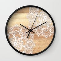 wood Wall Clocks featuring White doodles on blonde wood - neutral / nude colors by micklyn