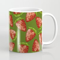 strawberry Mugs featuring Strawberry by Julia Badeeva