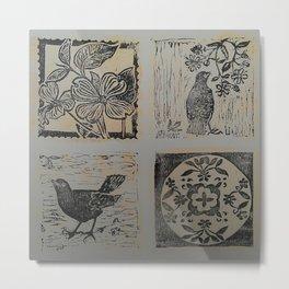 Floral Bird patchwork print Black & Gold Metal Print