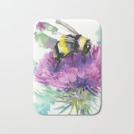 Bumblebee and Thistle Flower, honey bee floral Bath Mat