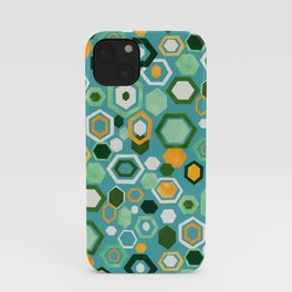 Scattered Gouache Hexagons - Greens iPhone Case