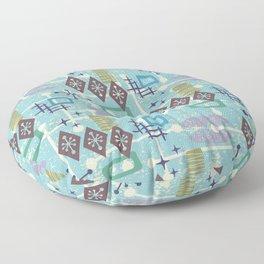 Retro Mid Century Modern Atomic Abstract Pattern 245 Floor Pillow