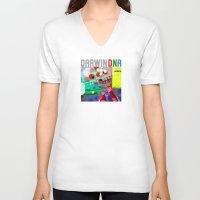 darwin V-neck T-shirts featuring DARWIN DNA by DARWIN STEAD