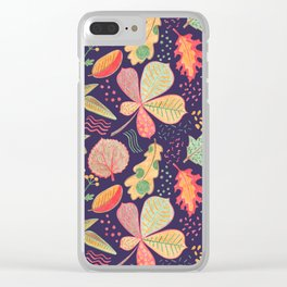Yellow Leaves On Purple Crayon Drawing, Vibrant Autumn Pattern Clear iPhone Case