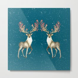 Deers With Birds Teal #society6 #buyart Metal Print