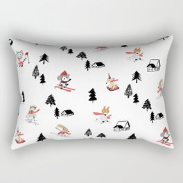 Mountain skiing in alpine chalet snow forest Rectangular Pillow