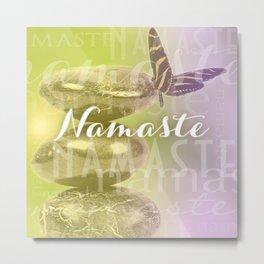 Namaste Meditation Stones & Butterfly Typography Metal Print