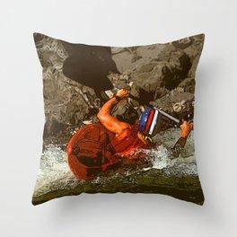 Salmon River Kayaker Throw Pillow