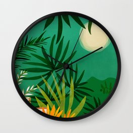 Exotic Garden Nightscape / Tropical Scene Wall Clock