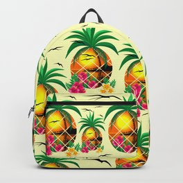 Pineapple Tropical Sunset, Palm Tree and Flowers Backpack