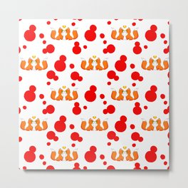 Cute lovely little foxes in love and bold red retro dots nursery pattern design. Hello November. Metal Print
