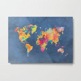 world map blue 2061 #map #worldmap Metal Print