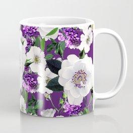 Purple White Spring Flower Pattern Coffee Mug