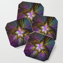 Abstract Art, Coloful Fantasy Flower Fractal Coaster