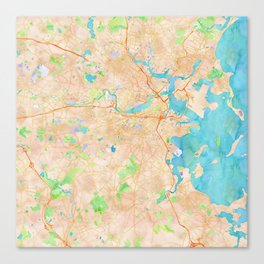Boston region watercolor map Canvas Print