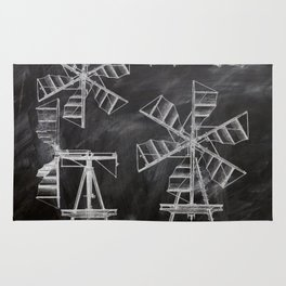 steampunk western country chalkboard art agriculture farm windmill patent print Rug