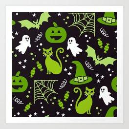 Halloween party illustrations green, black Art Print