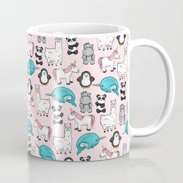 Panda, Narwhal, Llama, Penguin, Hippo, Girl's Animal Illustrations, Pink Print Coffee Mug
