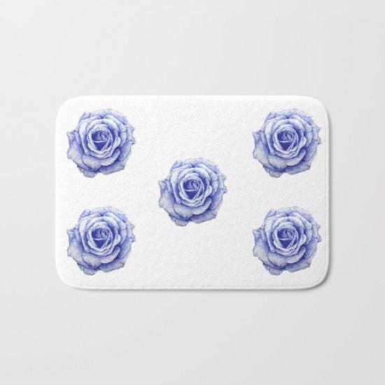 Ballpoint Blue Rose Bath Mat