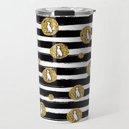 GOLD GLITTER WEIMS AND BLACK STRIPES Travel Mug