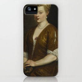 woman in gray dress iPhone Case