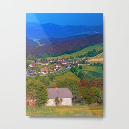 A farm, a valley and lots of panorama Metal Print