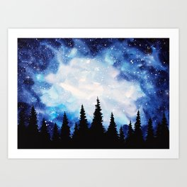 Watercolor Starry Galaxy Forest Painting Art Print