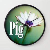 pig Wall Clocks featuring Pig by Wanker & Wanker