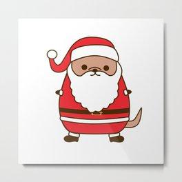 Cute Christmas Santa Pupsheen Metal Print