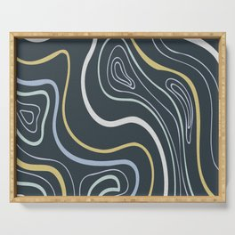 Swirl circle colourful digital oil painting lines. Serving Tray