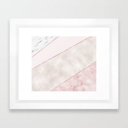 Spliced mixed pink marble and rose gold Framed Art Print