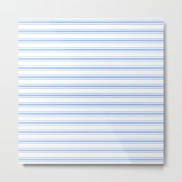 Mattress Ticking Wide Horizontal Striped Pattern in Pale Blue and White Metal Print