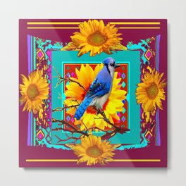 Decorative Ornate  Burgundy-Blue Jay Sunflowers Metal Print